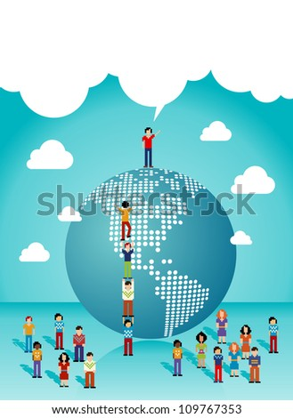 Social media network teamwork expansion in The Americas. Vector illustration layered for easy manipulation and custom coloring.