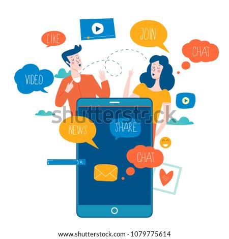 Social media, networking, chatting, texting, communication, online community, posts, comments, news flat vector illustration. People with speech bubbles. Design for mobile and web graphics Stock photo ©
