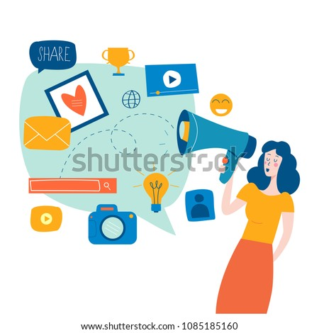 Social media, networking, chatting, texting, communication, online community, posts, comments, news flat vector illustration. Design for mobile and web graphics Stock photo ©