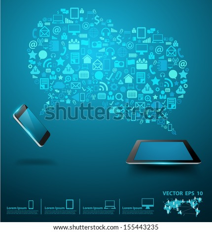 Social media networking, Mobile phones with tablet computer of application icon, Creative speech bubble of technology business software idea concept, Vector illustration modern layout template design