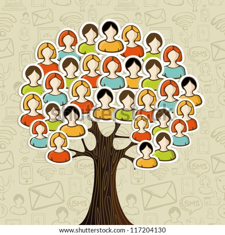 Social media networks tree with people icons leaves over icons pattern background. Vector illustration layered for easy manipulation and custom coloring.