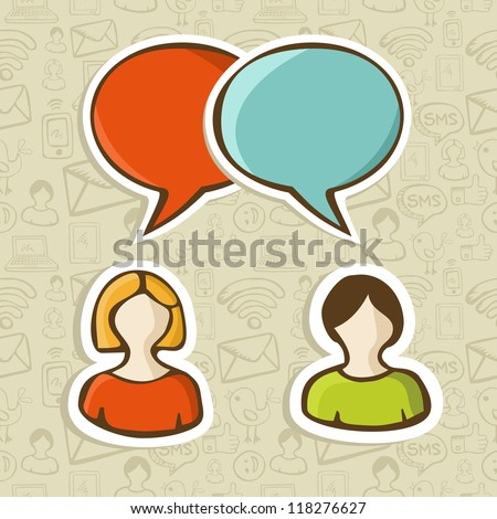 Social media networks users interaction with speech bubbles over pattern. Vector illustration layered for easy manipulation and custom coloring.
