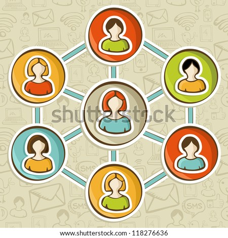 Social media networks web marketing connection diagram. Vector illustration layered for easy manipulation and custom coloring.