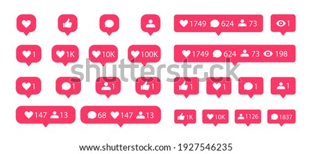 Social media notification flat icons set. Like, comment, follower and view buttons. Vector social media bubble icons.