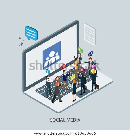 social media on internet with computer