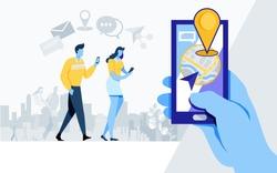 Social media. Online Community. like, share, application, location, navigation, Flat cartoon illustration vector graphic on white background.