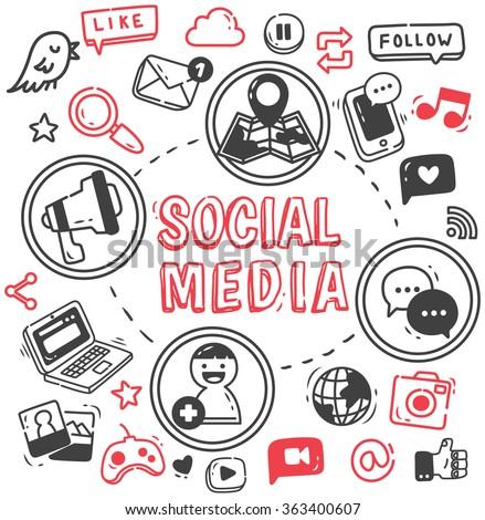 Social media or Internet themed doodle