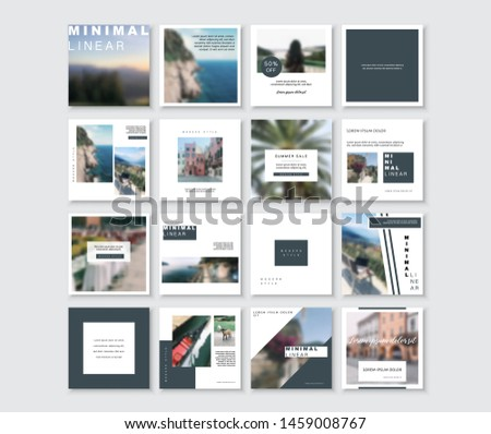 Social media pack. Business presentation template. Set of modern blog posts or Editable simple info banner, trendy book cover idea.  For app, web mail digital display style.  beauty cards. Minimal.