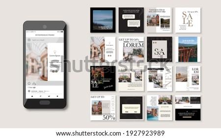 Social media pack Posts for internet content, site for Bloggers, Fashion, ad, Lifestyle brands, Creative businesses blog. Set of square Presentation templates. Unique trendy website slider frames.