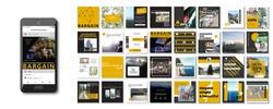 Social media pack. Set of creative modern blog posts or Editable simple info banner shop, trendy covers idea. smm. Square orange black white Cards handpick. Slides for app, web digital travel style.