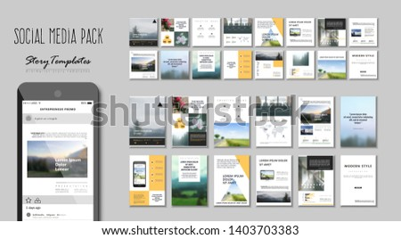 Social media pack. Set of square modern blog posts .Editable simple blur banner shop, trendy covers idea. Slides for app, web digital style. Cards handpicked beauty screen. Technology collection. web #1403703383