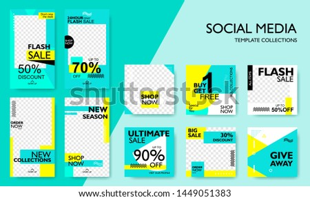 Social media pack template for discount and special offer. Modern promotion square web banner for mobile apps. Geometric abstract pattern frame and  background layout. Elegant sale and promo