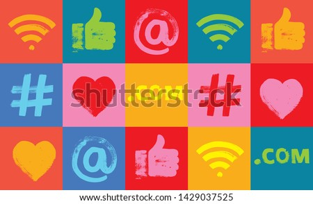 Social Media Pattern, Colorful, Background,  Grunge Texture, Email, Marketing, apps, at symbol, facebook, google analytics, hand like, hash tag, hashtag marketing,  Millennials, Smartphone technology