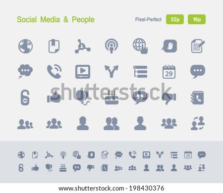 Social Media & People Icons. Granite Icon Series. Simple ...