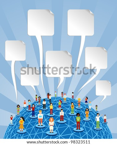 Social media people network connection concept with blank bubbles speech over World globe. Vector file layered for easy manipulation and customizations.