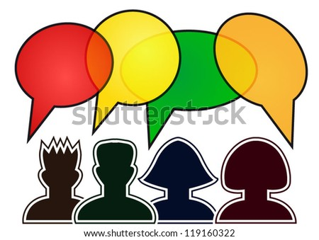 Social media persons with glossy speech bubbles illustration
