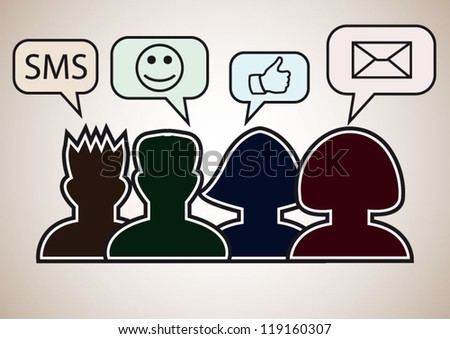 Social media persons with speech bubbles sms, smile, thumb up, mail