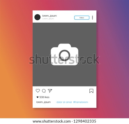 Social media photo frame template stories mobile interface,Social network post. Frame for your photo. Gray background. Vector illustration. - Vector