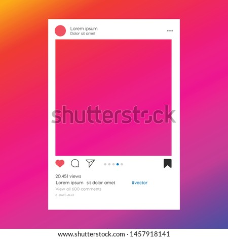 Social media photo frame template stories mobile interface. Social network post. Instagram Frame for your photo. Mockup. Vector illustration. - Vector