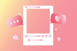 Social media photo frame, with love button And sending messages for love, frame for valentines day, vector illustration