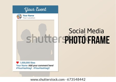Social Media photo prop frame with likes. White vector template similar to the most popular social network for photo.