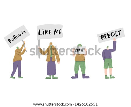 Social media phrase. Follow me, Like me, Share, Repost. People standing together with sign boards. Young persons holding placards. Human characters . Vector illustration.