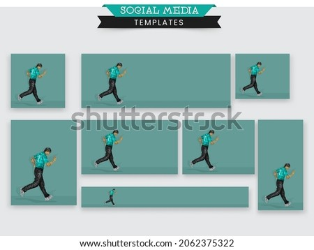 Social Media Post Collections of a Cricket Player or Bowler in Team Jersey Celebrating with Copy Space for Your Message. Pixel Art Detailed Character Illustration.