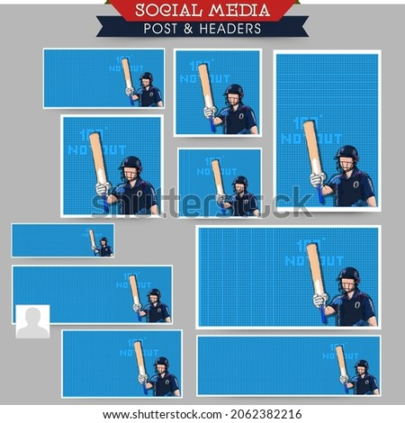 Social Media Post Collections of a Cricketer or Batter in Team Jersey Celebrating with Copy Space for Your Message. Pixel Art Detailed Character Illustration.