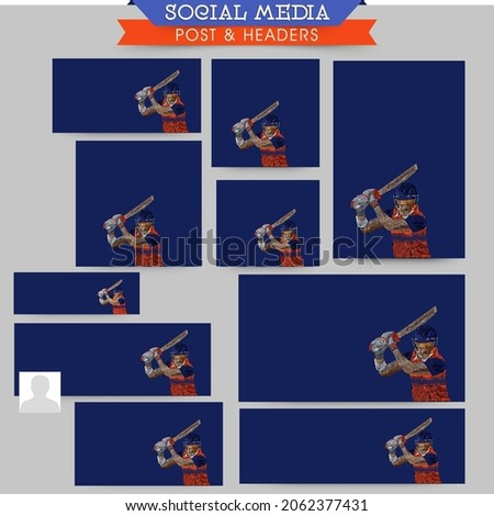 Social Media Post Collections of a Cricketer or Batter in Team Jersey Playing a Shot with Copy Space for Your Message. Pixel Art Detailed Character Illustration.