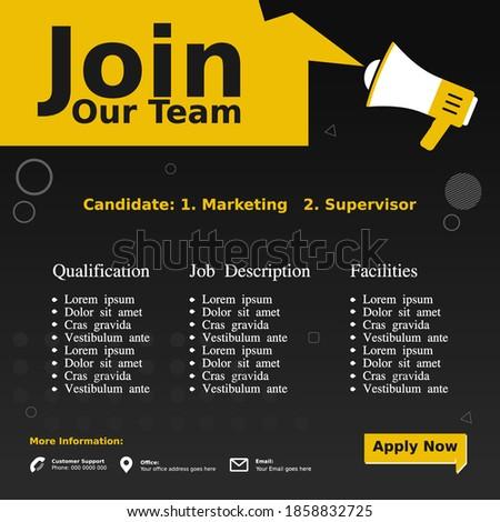 Social media post layout design. Hiring, Job vacancy poster design. Template open recruitment design.  Сток-фото ©