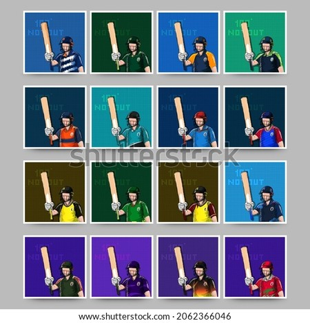 Social Media Post Or Template Set With Doodle Cricket Batter Player On Grid Background In Colorful.