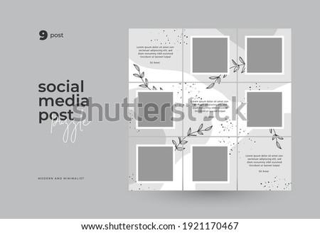 Social Media Post Puzzle Template Vector
