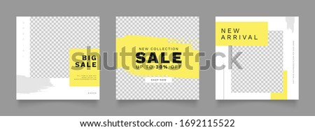 social media post template for digital marketing and sale promo. fashion advertising. banner offer. yellow color. mockup photo vector frame illustration