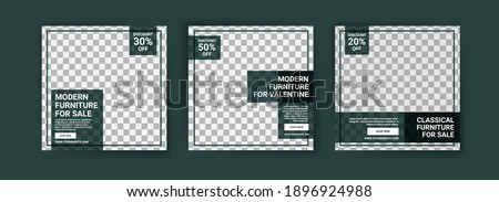 Social media post template for furniture sale. Advertising furniture sales. Offer social media banners for furniture ads. Social media post design template for promotion.