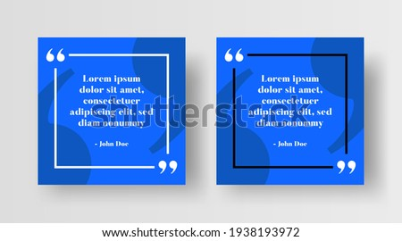 Social Media Post Template for Quotes. Editable Social Post or Square Banner Design for Instagram Post Quote or Text. Quote Typography with Creative Modern Quotation Marks Background Illustration