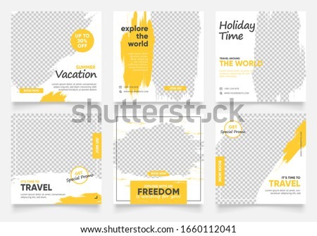 social media post template for travel holiday tourism marketing and sale promo. tour advertising. banner offer.  vector frame illustration