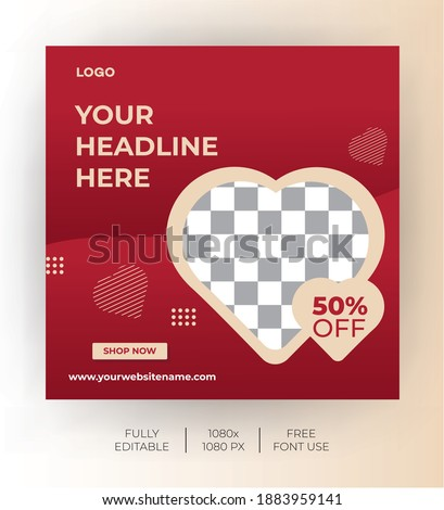Social media post template for valentine's day. Modern and Unique for online promotional. -Vector Template