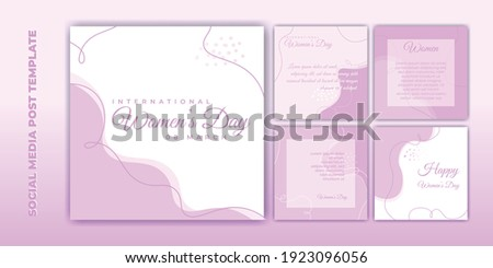 Social Media post template. International Women's Day banner design. Set of social media template with pink feminine design. Good template for online advertising template.