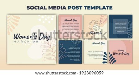 Social Media post template. International Women's Day banner design. Set of social media template with purple feminine design. Good template for online advertising template.