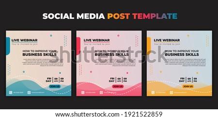 Social media post template. Set of Social media with color choice design. Vector illustration of Webinar invitation banner. good template for online advertising design.