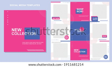 Social media post templates set for business with abstract vector illustration on background. Square posts layouts blue, fucsia, and white. Photo stock ©