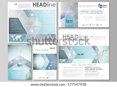Social media posts set. Business templates. Abstract design template, vector layouts in popular formats. Chemistry pattern, connecting lines and dots, molecule structure, medical DNA research