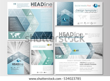 Social media posts set. Business templates. Cover design template, easy editable, flat layouts in popular formats. Abstract blue or gray pattern with lines, modern stylish vector texture.