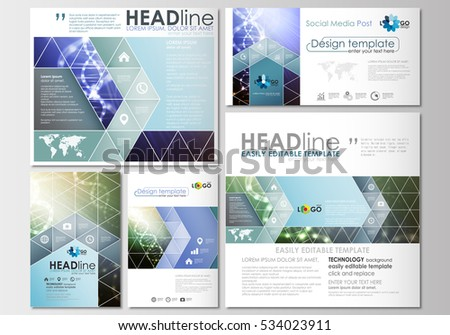 Social media posts set. Business templates. Cover design template, easy editable, flat layouts in popular formats. DNA molecule structure, science background. Scientific research, medical technology.