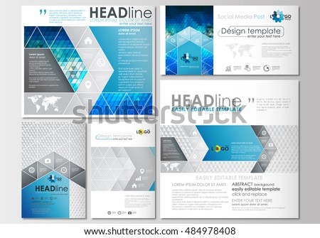 Social media posts set. Business templates. Cover design template, flat layouts in popular formats. Abstract triangles, blue and gray triangular background, modern colorful polygonal vector.