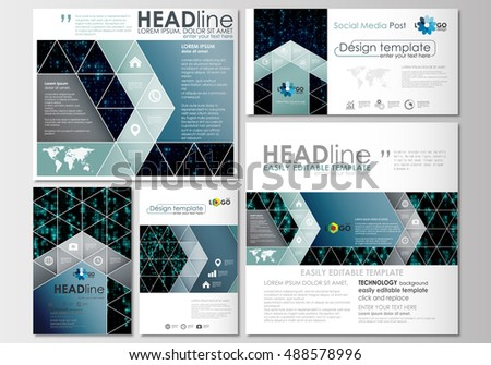 Social media posts set. Business templates. Cover design template, flat layouts in popular formats. Virtual reality, color code streams glowing on screen, abstract technology background with symbols.