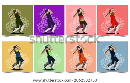 Social Media Posts With Different Countries Cricket Batter Player And Rhombus Pattern In Eight Color Options.