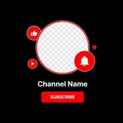 Social Media Profile Icon Interface. Subscribe Button. Channel Name. Transparent Placeholder. Put Your Photo Under Background. Vector illustration