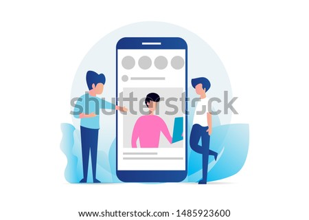 social media profile. social media marketing vector concept illustration, happy woman and men give like comment on Instagram, can use for, landing page, template, ui, web, homepage, poster