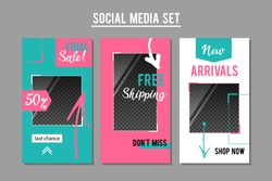 Social media promotion banners set. Vector graphic design templates for e-commerce services, shops, blogs.